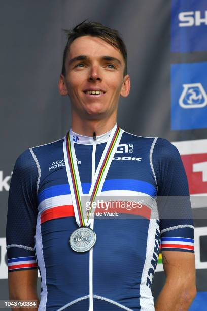 Podium / Romain Bardet of France Silver Medal / Celebration / during the Men Elite Road Race a 2585km race from Kufstein to Innsbruck 582m at the...