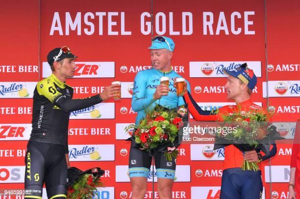 Podium / Roman Kreuziger of Czec Republik and Team Mitchelton-Scott / Michael Valgren Andersen of Denmark and Astana Pro Team / Enrico Gasparotto of...