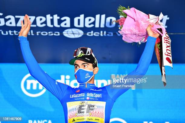 Podium / Ruben Guerreiro of Portugal and Team EF Pro Blue Mountain Jersey / Celebration / Flowers / during the 103rd Giro d'Italia 2020, Stage 17 a...
