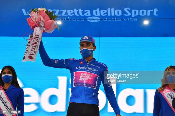 Podium / Ruben Guerreiro of Portugal and Team EF Pro Cycling Blue Mountain Jersey / Celebration / Flowers / during the 103rd Giro d'Italia 2020,...