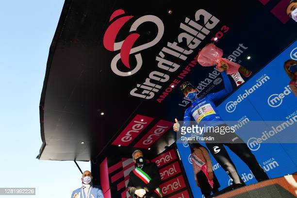 Podium / Ruben Guerreiro of Portugal and Team EF Pro Cycling Blue Mountain Jersey / Celebration / during the 103rd Giro d'Italia 2020, Stage 20 a...