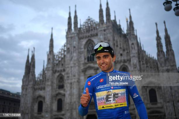 Podium / Ruben Guerreiro of Portugal and Team EF Pro Cycling Blue Mountain Jersey / Celebration / Duomo di Milano / Milan Cathedral / during the...