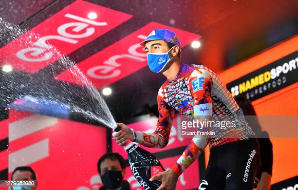 Podium / Ruben Guerreiro of Portugal and Team EF Pro Cycling / Celebration / Champagne / during the 103rd Giro d'Italia 2020, Stage 9 a 207km stage...