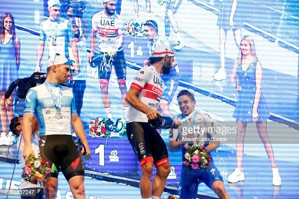 Podium / Rudy Barbier of France and Team Israel Start - Up Nation / Fernando Gaviria of Colombia and UAE Team Emirates / José Álvaro Hodeg of...
