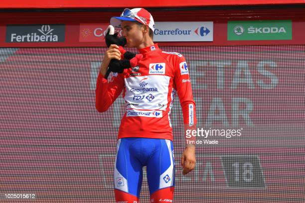 Podium / Rudy Molard of France and Team Groupama FDJ Red Leader Jersey / Celebration / Bull Mascot / during the 73rd Tour of Spain 2018, Stage 5 a...