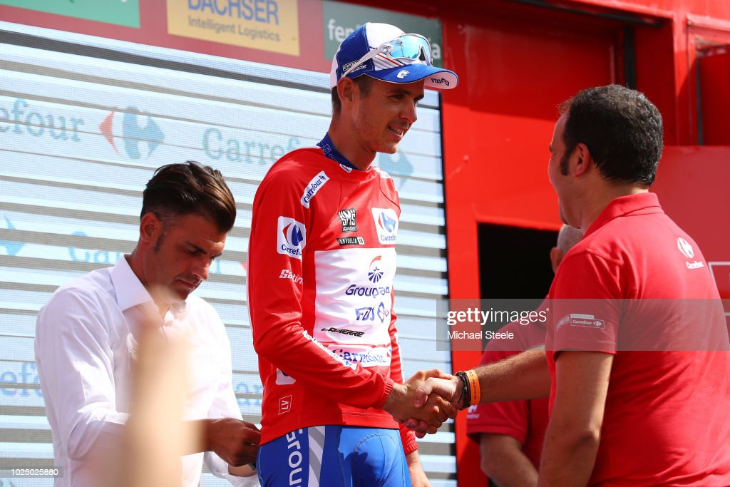 Podium / Rudy Molard of France and Team Groupama FDJ Red Leader Jersey / Celebration / during the 73rd Tour of Spain 2018, Stage 5 a 188,7km stage from Granada to Roquetas de Mar / La Vuelta / on August 29, 2018 in Roquetas de Mar, Spain.