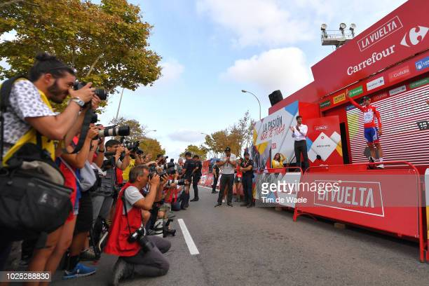 Podium / Rudy Molard of France and Team Groupama FDJ Red Leader Jersey / Celebration / Press / Media / during the 73rd Tour of Spain 2018, Stage 6 a...
