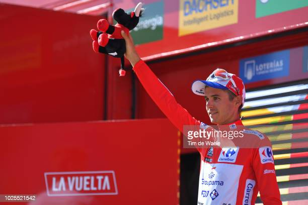 Podium / Rudy Molard of France and Team Groupama FDJ Red Leader Jersey / Celebration / Bull Mascot / during the 73rd Tour of Spain 2018, Stage 7 a...