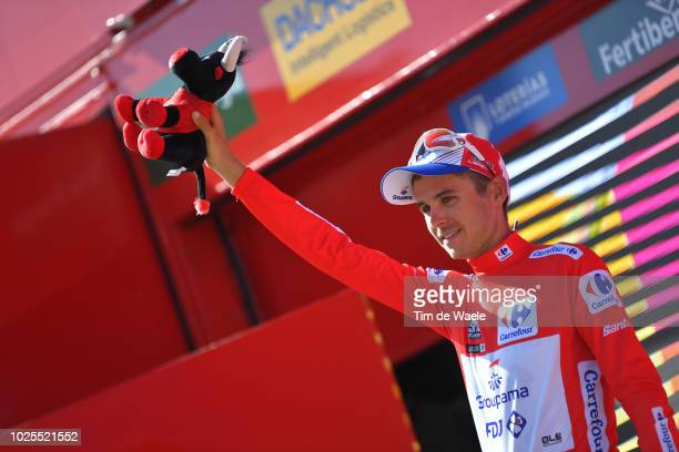 Podium / Rudy Molard of France and Team Groupama FDJ Red Leader Jersey / Celebration / Bull Mascot / during the 73rd Tour of Spain 2018 Stage 7 a...
