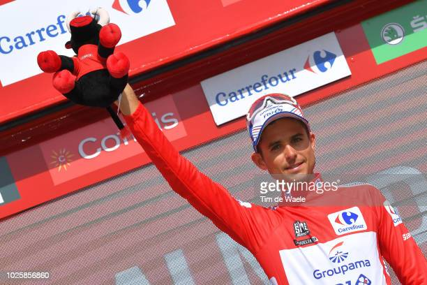Podium / Rudy Molard of France and Team Groupama FDJ Red Leader Jersey / Celebration / Bull Mascot / during the 73rd Tour of Spain 2018 / Stage 8 a...