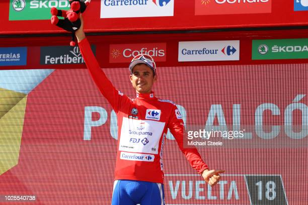Podium / Rudy Molard of France and Team Groupama FDJ Red Leaders Jersey / Celebration / Bull Mascot / during the 73rd Tour of Spain 2018, Stage 7 a...