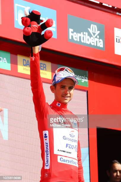 Podium / Rudy Molard of France and Team Groupama FDJ Red Leaders Jersey / Celebration / Bull Mascot / during the 73rd Tour of Spain 2018 / Stage 8 a...