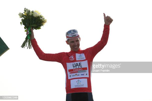 Podium / Rui Costa of Portugal and UAE Team Emirates Red Points Jersey / Celebration / during the 1st Saudi Tour 2020, Stage 1 a 173km stage from...
