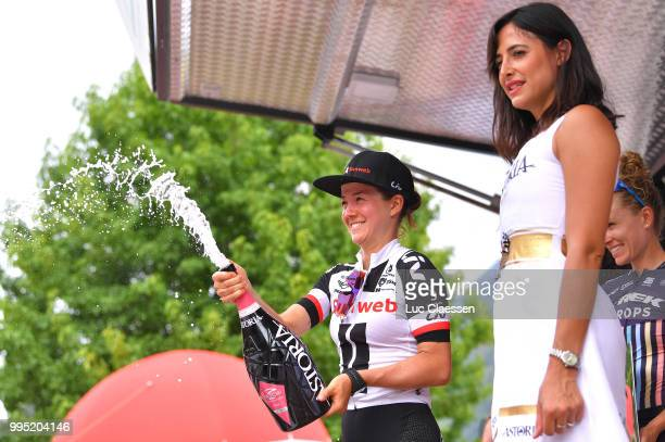 Podium / Ruth Winder of The United States and Team Sunweb Celebration / Champagne / during the 29th Tour of Italy 2018 - Women, Stage 5 a 122,6km...