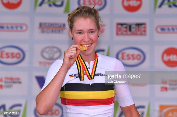 Podium / Saartje Vandenbroucke of Belgium and Doltcini Van Eyck Sport UCI Women Cycling Gold Medal / Celebration / during the 119th Belgian Road...