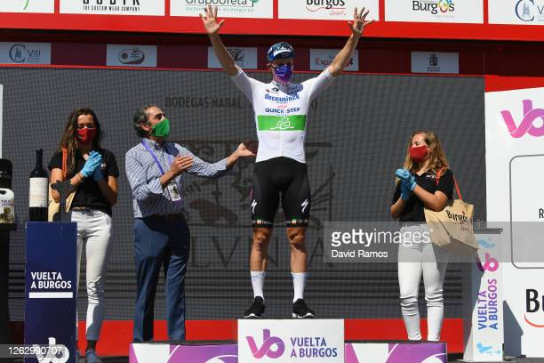 Podium / Sam Bennett of Ireland and Team Deceuninck - Quick-Step / Celebration / Covid Safe measures / Miss / Hostess / during the 42nd Vuelta a...
