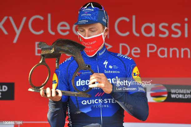 Podium / Sam Bennett of Ireland and Team Deceuninck - Quick-Step Celebration, during the 45th Oxyclean Brugge - De Panne 2021, Men Classic a 203,9km...