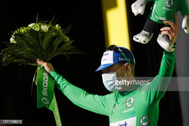 Podium / Sam Bennett of Ireland and Team Deceuninck - Quick-Step Green Points Jersey / Celebration / during the 107th Tour de France 2020, Stage 12 a...