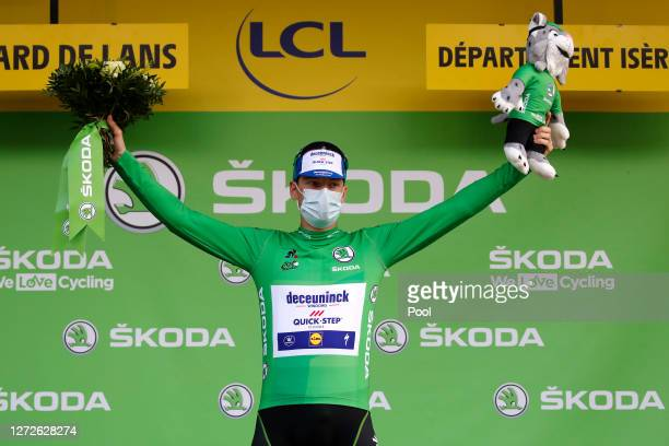 Podium / Sam Bennett of Ireland and Team Deceuninck QuickStep Green Points Jersey / Celebration / during the 107th Tour de France 2020 Stage 16 a...