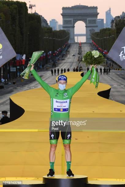 Podium / Sam Bennett of Ireland and Team Deceuninck - Quick-Step Green Points Jersey / Celebration / Trophy / during the 107th Tour de France 2020,...