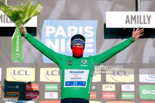 Podium / Sam Bennett of Ireland and Team Deceuninck - Quick-Step Green sprint jersey Celebration, during the 79th Paris - Nice 2021, Stage 2 a 188km...