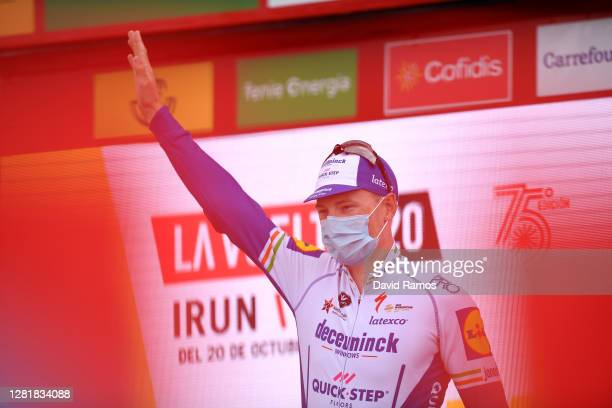 Podium / Sam Bennett of Ireland and Team Deceuninck - Quick-Step / Celebration / Mask / Covid safety measures / during the 75th Tour of Spain 2020,...