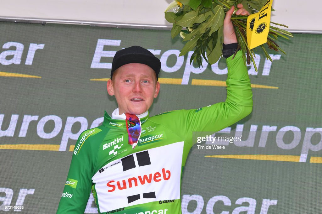 Podium / Sam Oomen of The Netherlands and Team Sunweb Green Best Young Jersey / Celebration / during the 82nd Tour of Switzerland 2018, Stage 5 a 155,7km stage from Gstaad to Leukerbad 1385m on June 13, 2018 in Leukerbad, Switzerland.