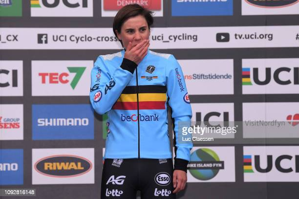 Podium / Sanne Cant of Belgium and Team Belgium Gold Medal / Celebration / during the 70th Cyclo-cross World Championships Bogense 2019, Women Elite...