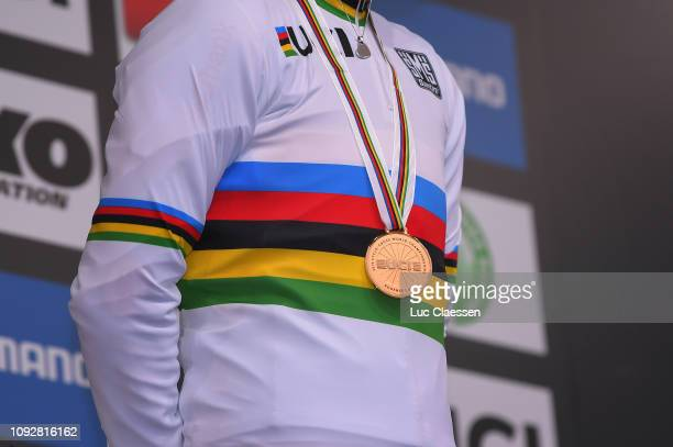 Podium / Sanne Cant of Belgium and Team Belgium Gold Medal / Celebration / Detail view / during the 70th Cyclo-cross World Championships Bogense...