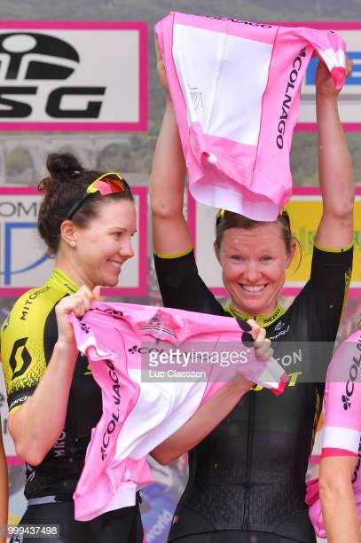 Podium / Sarah Roy of Australia and Team Mitchelton-Scott / Jolien DHoore of Belgium and Team Mitchelton-Scott / Pink Leader Jersey / Celebration /...
