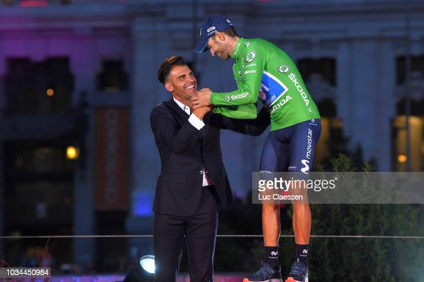Podium / Óscar Pereiro of Spain Ex Pro-cyclist / Alejandro Valverde of Spain and Movistar Team Green Points Jersey / Celebration / during the 73rd...