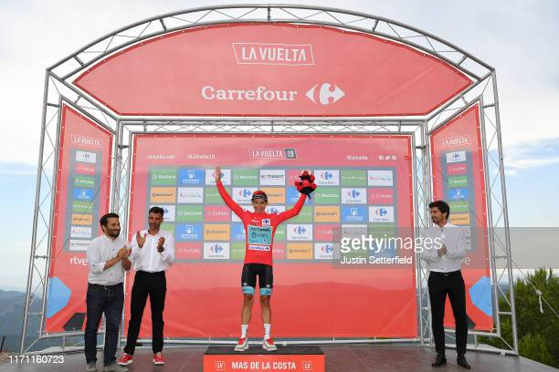 Podium / Óscar Pereiro of Spain Ex Pro-cyclist winner of the Tour of France 2006 / Miguel Angel Lopez of Colombia and Astana Pro Team Red Leader...