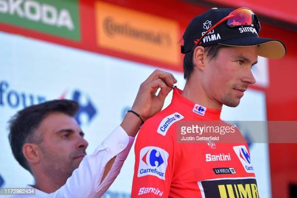 Podium / Óscar Pereiro of Spain Ex Pro-cyclist winner of the Tour of France 2006 / Primoz Roglic of Slovenia and Team Jumbo-Visma Red Leader Jersey /...