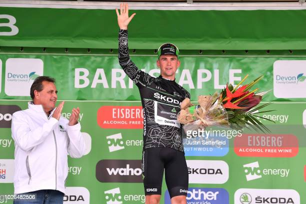 Podium / Scott Davies of Great Britain and Team Dimension Data Black Mountain Jersey / Celebration / during the 15th Tour of Britain 2018 Stage 2 a...