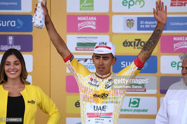 Podium / Sebastián Molano of Colombia and Uae Team Emirates Yellor Points Jersey / Celebration / Trophy / during the 2nd Tour of Colombia 2019 Stage...