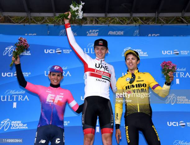 Podium / Second place Sergio Andres Higuita Garcia of Colombia riding for EF Education First / Winner Tadej Pogacar of Slovenia riding for UAE Team...