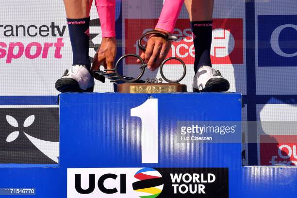 Podium / Sep Vanmarcke of Belgium and Team EF Education First / Celebration / Trophy / Detail view / during the 83rd Bretagne Classic Ouest-France...