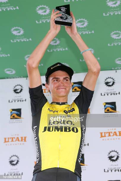 Podium / Sepp Kuss of The United States and Team LottoNL-Jumbo / Celebration / during the 14th Larry H. Miller Tour of Utah, Stage 6 a 123,4km stage...