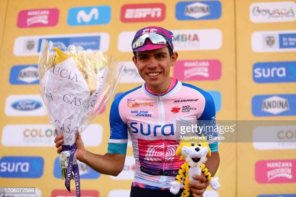 Podium / Sergio Andres Higuita Garcia of Colombia and Team EF Pro Cycling White Best Young Rider Jersey / Celebration / during the 3rd Tour of...