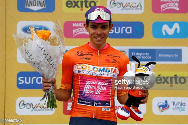 Podium / Sergio Andres Higuita Garcia of Colombia and Team EF Pro Cycling Orange Leader Jersey / Celebration / during the 3rd Tour of Colombia 2020,...