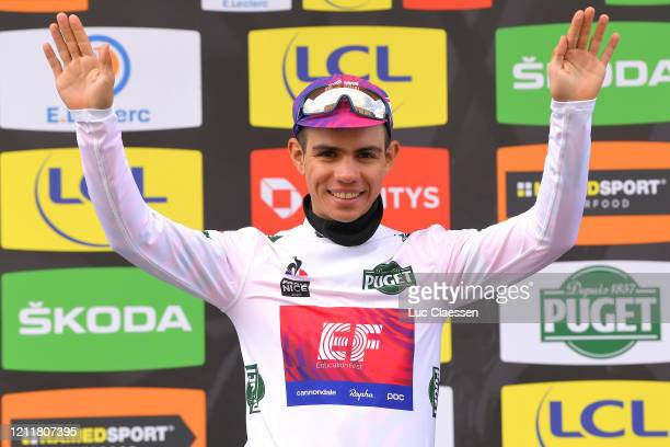 Podium / Sergio Andres Higuita of Colombia and Team Ef Education First White Best Young Jersey / Celebration / during the 78th Paris - Nice 2020,...