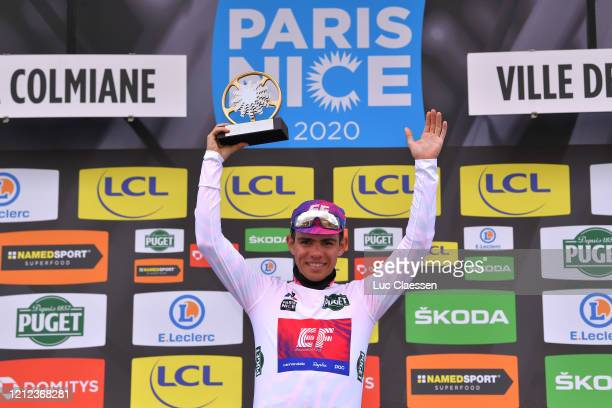 Podium / Sergio Andres Higuita of Colombia and Team Ef Pro Cycling White Best Young Jersey / Celebration / Trophy / during the 78th Paris - Nice 2020...