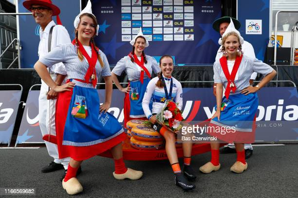 Podium / Shirin Van Anrooij of Netherlands Gold Medal Celebration / Miss / Hostess / during the 25th UEC Road European Championships 2019 - Junior...