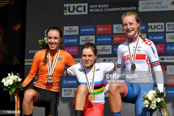 Podium / Shirin Van Anrooij of The Netherlands Silver medal / Aigul Gareeva of Russia Gold medal / Elynor Backstedt of United Kingdom Silver medal /...