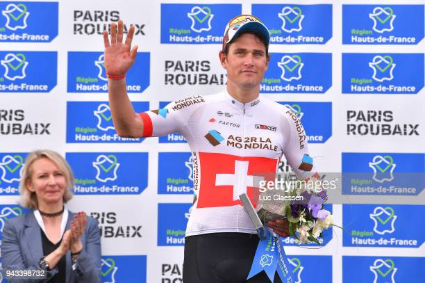 Podium / Silvan Dillier of Swiss and Team AG2R La Mondiale Celebration / during the 116th Paris Roubaix 2018 a 257km race from Compiegne to Roubaix...