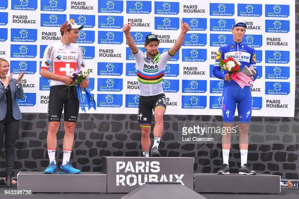 Podium / Silvan Dillier of Swiss and Team AG2R La Mondiale / Peter Sagan of Slowakia and Team BoraHansgrohe / Niki Terpstra of Netherlands and Team...