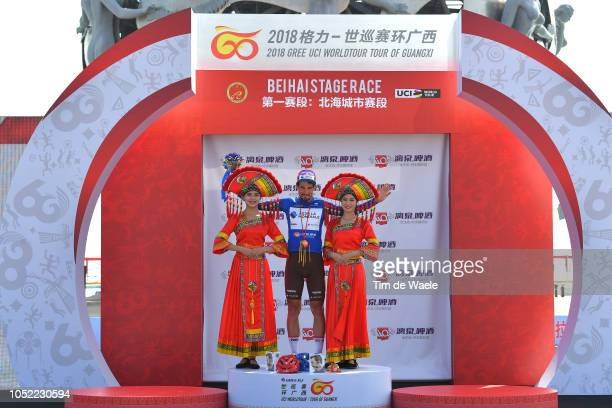Podium / Silvan Dillier of Switzerland and Team Ag2R La Mondiale Blue Sprint Jersey / Celebration / during the 2nd Tour Of Guangxi 2018 Stage 1 a...