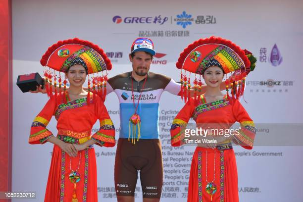 Podium / Silvan Dillier of Switzerland and Team Ag2R La Mondiale Most Aggressive Rider / Celebration / during the 2nd Tour Of Guangxi 2018, Stage 1 a...