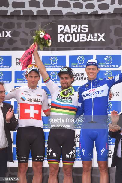 Podium / Silvan Dillier of Switzerland and Team AG2R La Mondiale / Peter Sagan of Slovakia and Team Bora Hansgrohe / Niki Terpstra of The Netherlands...