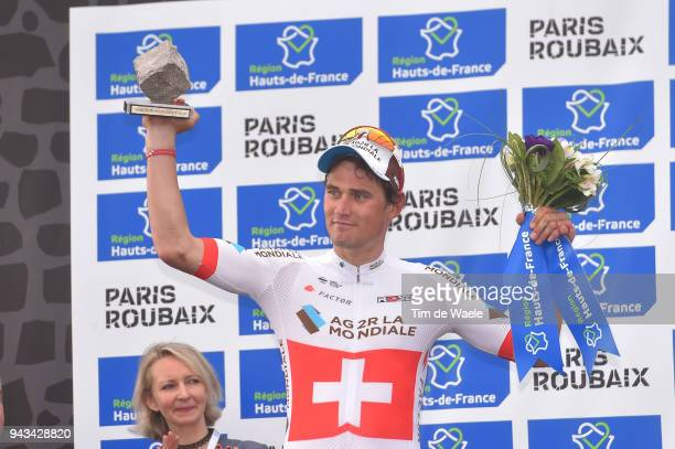 Podium / Silvan Dillier of Switzerland and Team AG2R La Mondiale / Celebration / during the 116th Paris to Roubaix 2018 a 257km race from Compiegne...